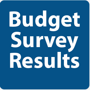"text in blue box ""Budget Survey results"