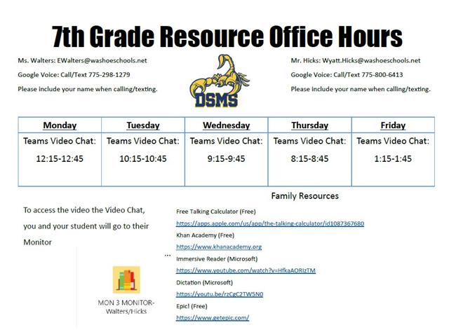 7th grade Office hours