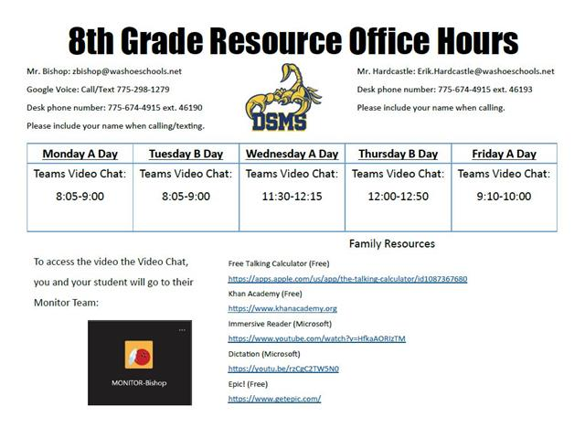 8th grade A day Office Hours