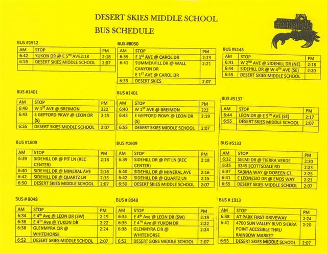 Desert Skies Bus Schedule