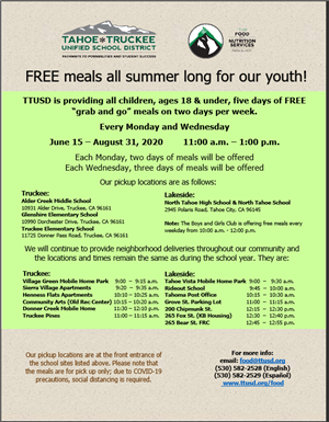 Tahoe Truckee Free Meals For Kids