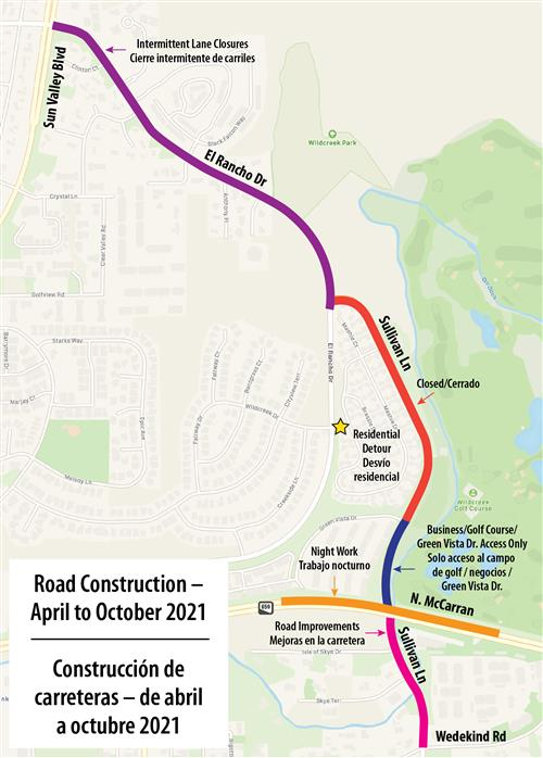 a map showing the road construction