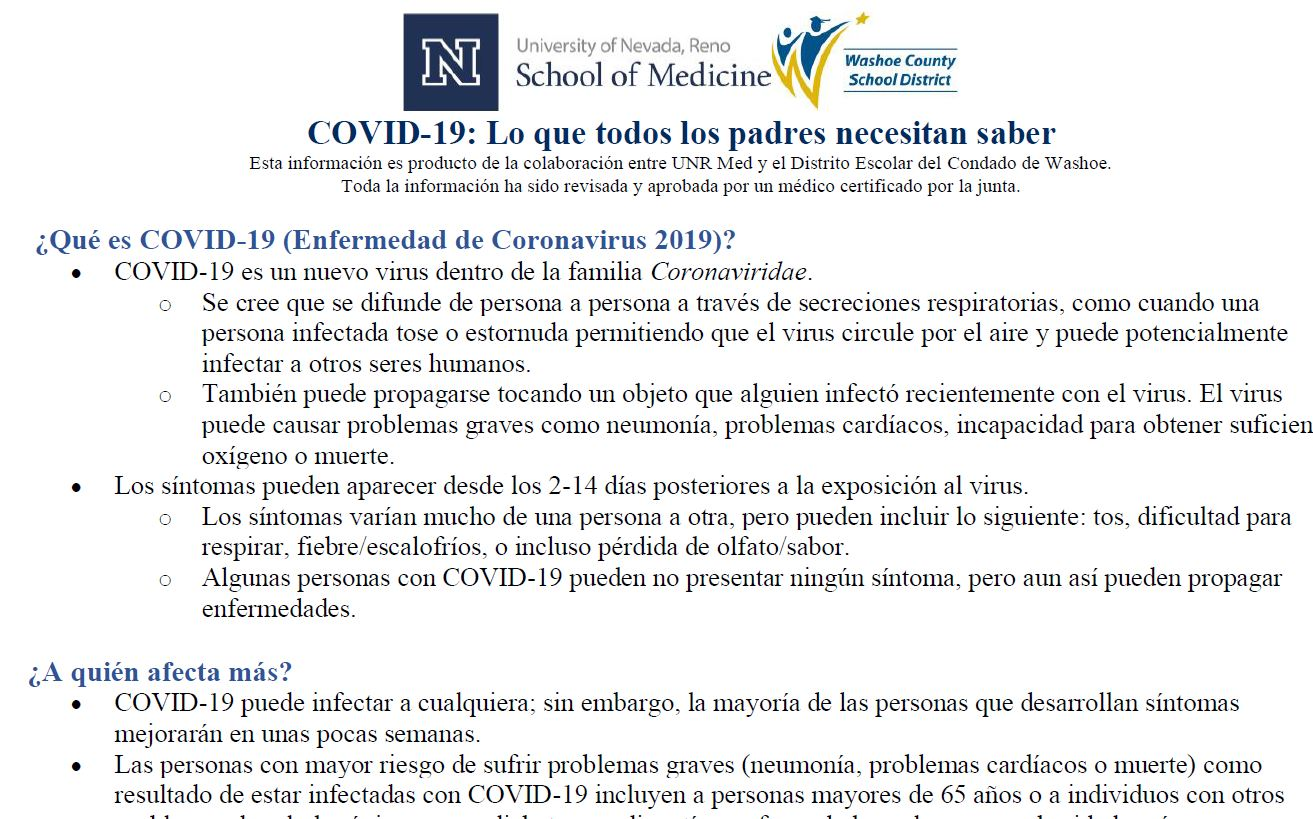 Parents Spanish: COVID-19