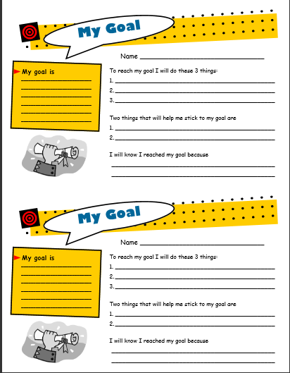 Image of primarygoal setting worksheet