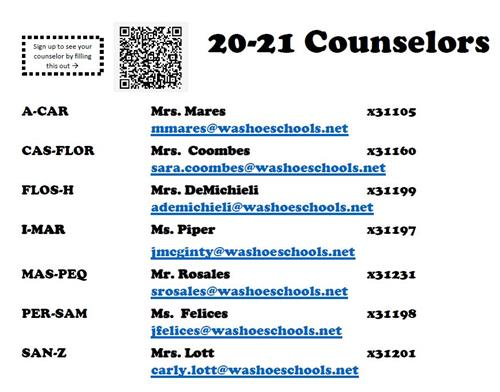 List of counselors by last name of student.