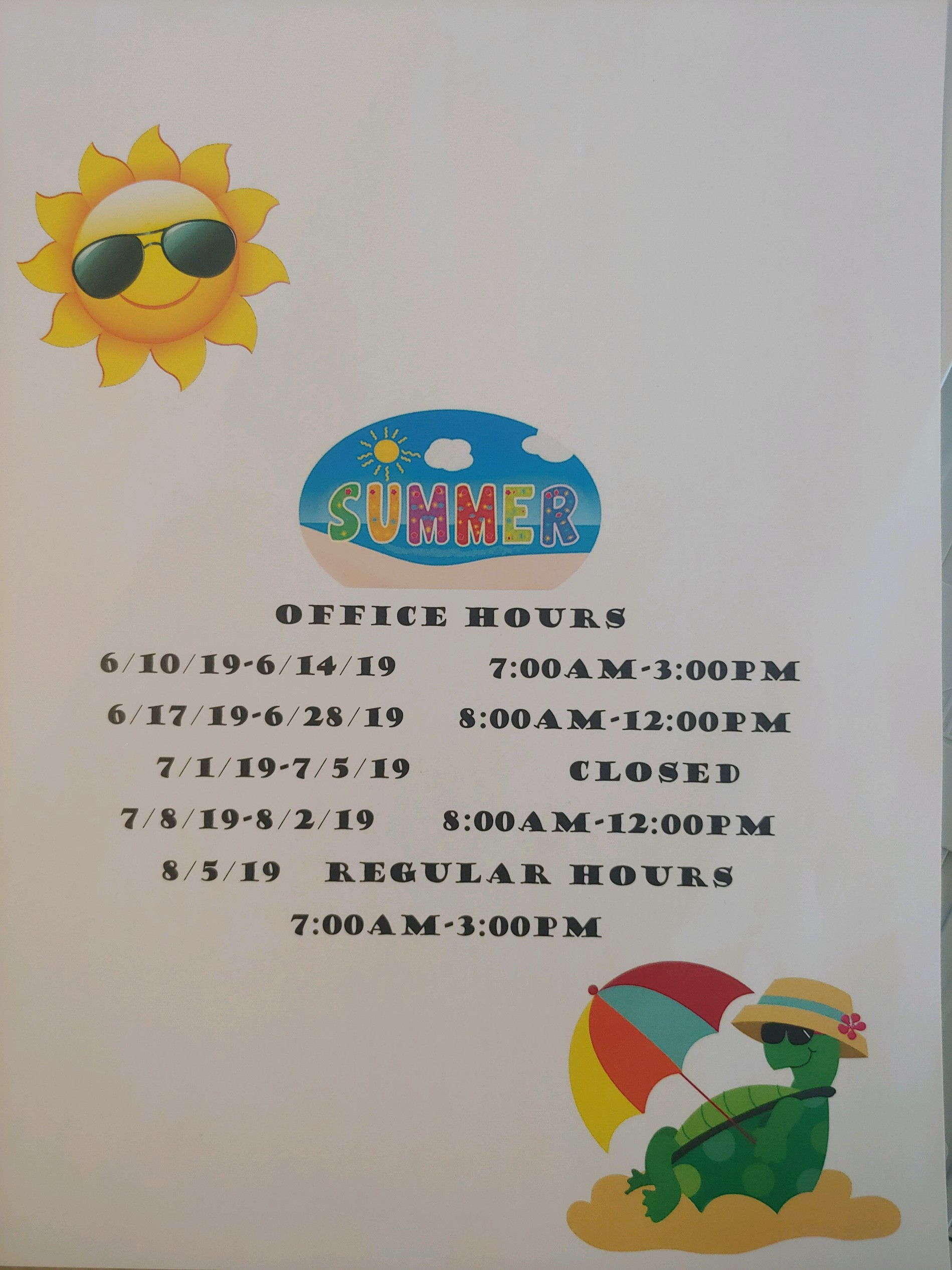 Hug High School summer office hours 2019