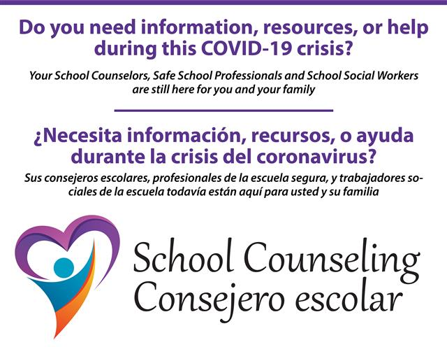 Counselors, SafeSchool Professionals, and  School Social Workers are still here for you and your family.