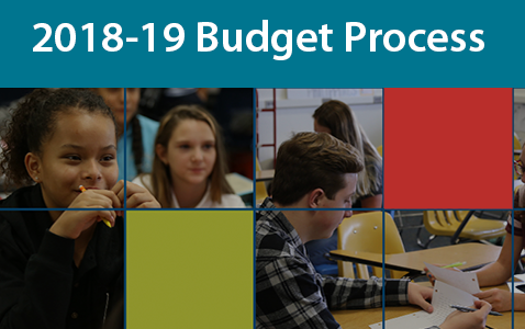 "Budget prcoess BAnner Graphic shows photos of children in clasrool on blue backgrounds with the text ""budget Process"""""