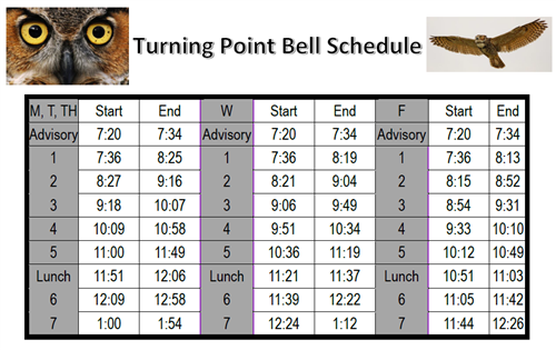 Turning Point Bell Schedule
