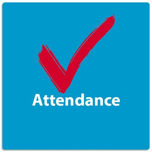 attendance decorative graphic blue backgrounds red check mark